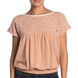 Free People Georgia Bubble Top Floral Cutout Small